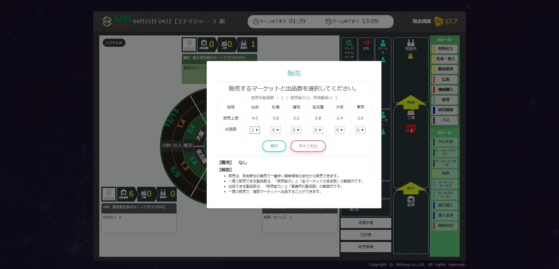 経営シミュレーションゲームの販売市場選定